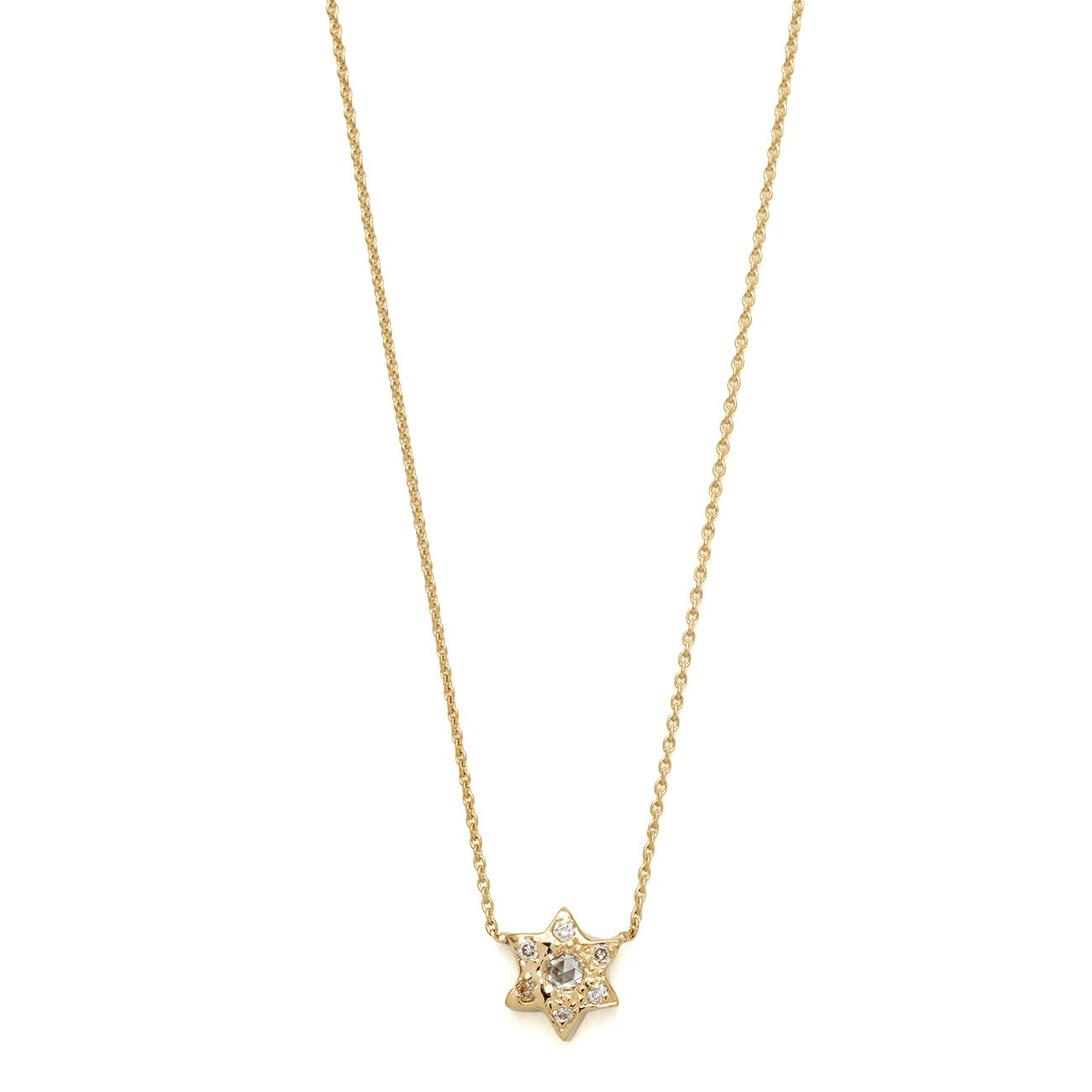 yellow gold 6 point star necklace
