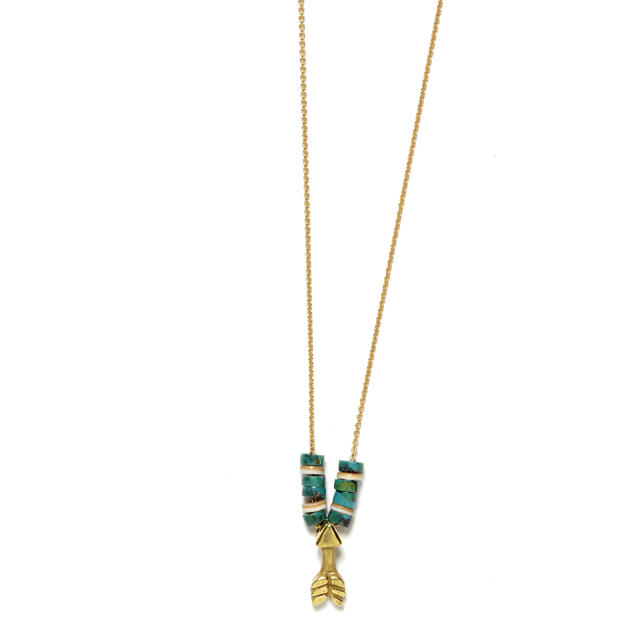 Elisa Solomon - Yellow Gold Arrow Necklace With Beads