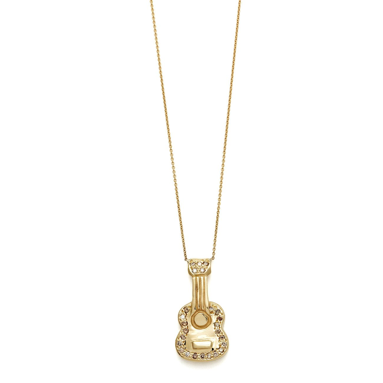 yellow gold brown diamond guitar necklace