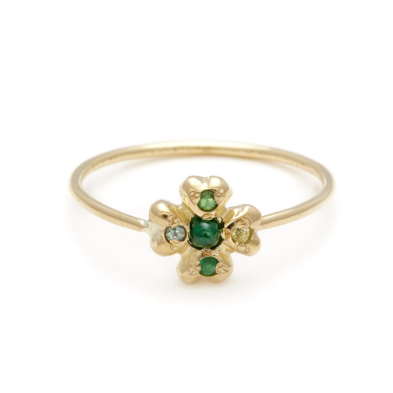 yellow gold clover ring