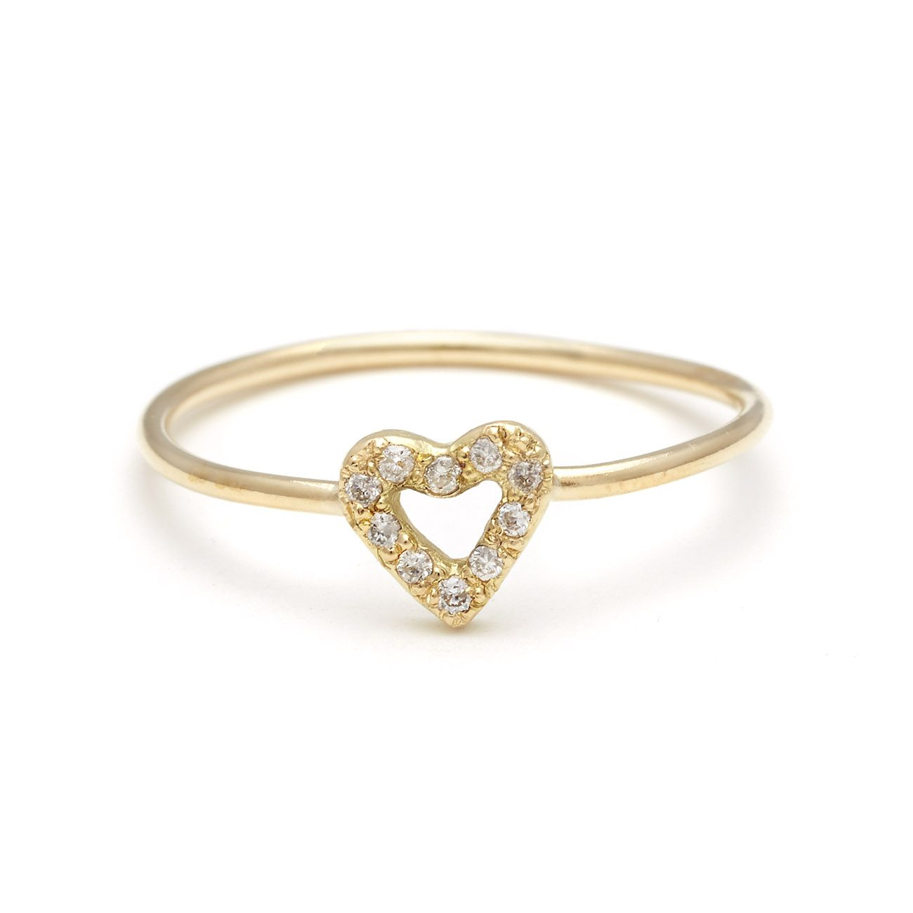 yellow gold diamond diamond tiny open heart ring