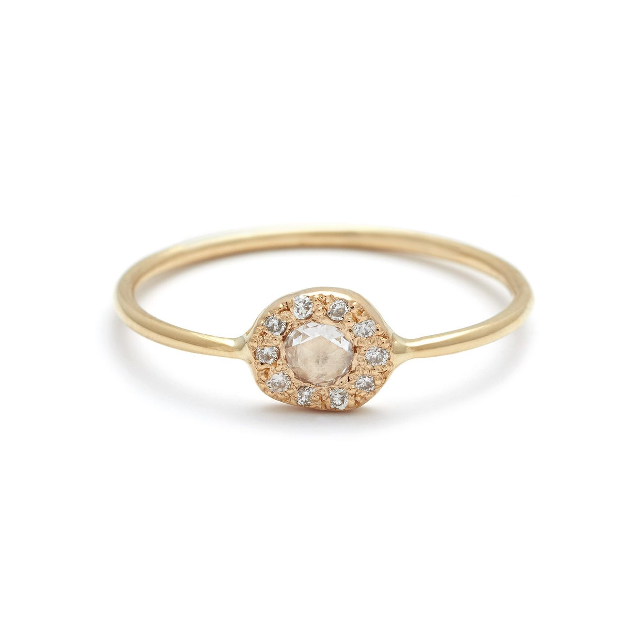 yellow gold diamond disk ring