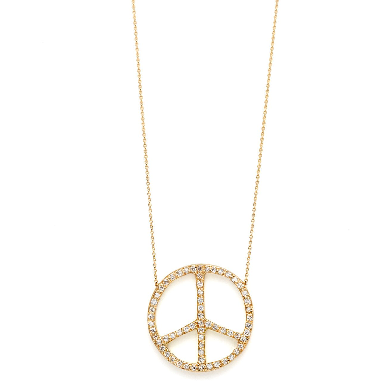 yellow gold diamond large peace sign necklace