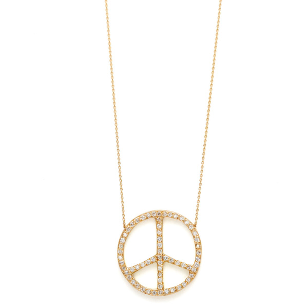 Elisa Solomon - Yellow Gold Diamond Large Peace Sign Necklace