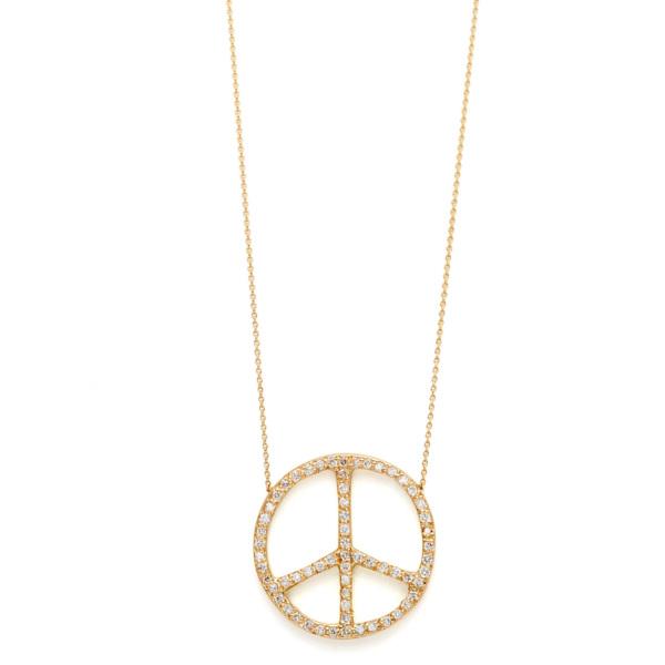 Elisa Solomon - Yellow Gold Diamond Large Peace Sign Necklace