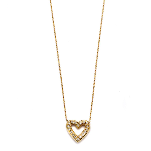 Elisa Solomon - Yellow Gold Diamond Open Heart Necklace