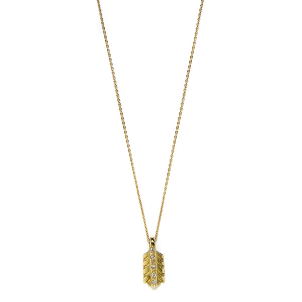 Elisa Solomon - Yellow Gold Diamond Small Feather Necklace
