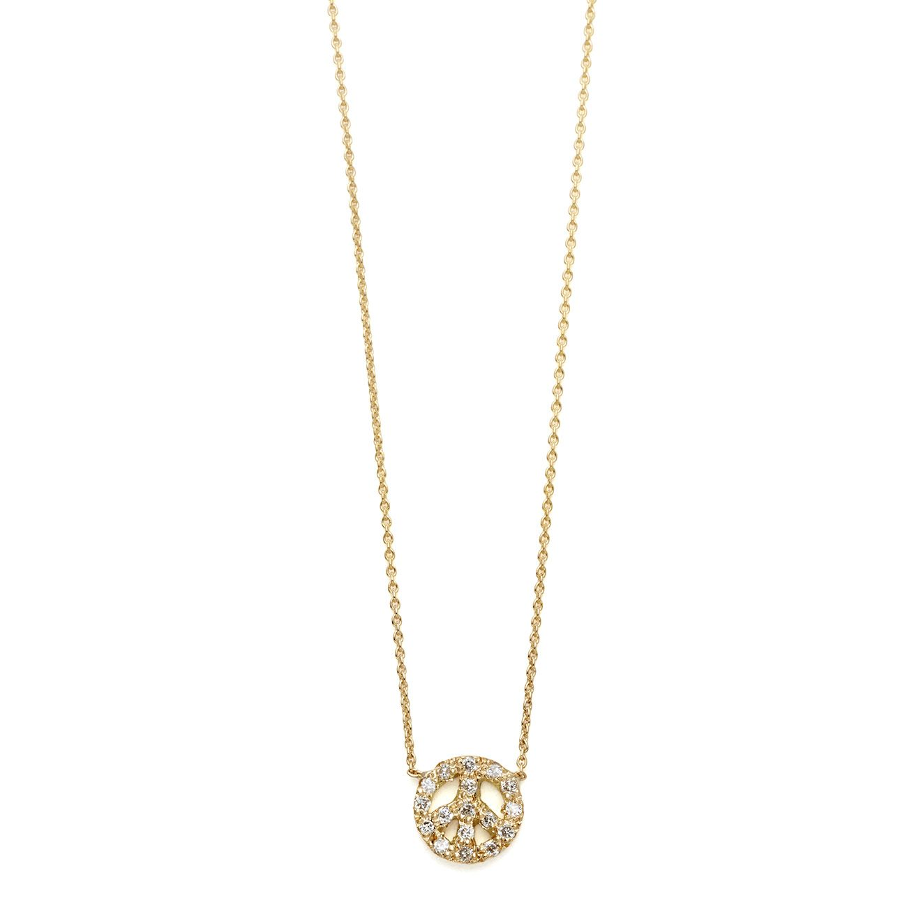 yellow gold diamond tiny peace sign necklace