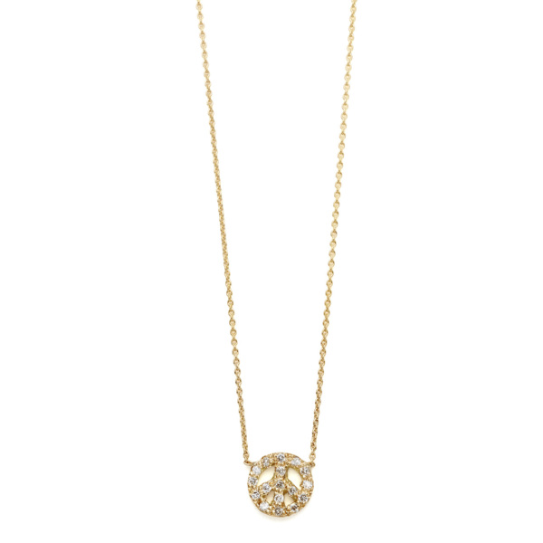 Elisa Solomon - Yellow Gold Diamond Tiny Peace Sign Necklace