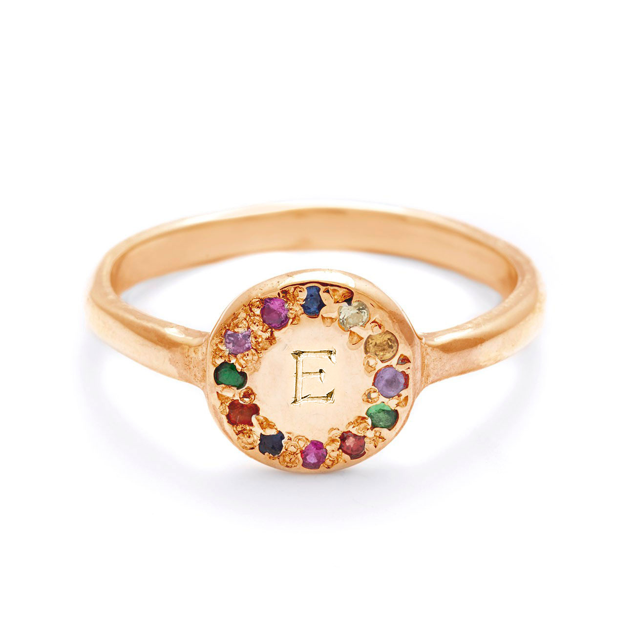 yellow gold disk ring bold engraving