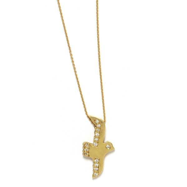 Elisa Solomon - Yellow Gold Flying Bird Necklace