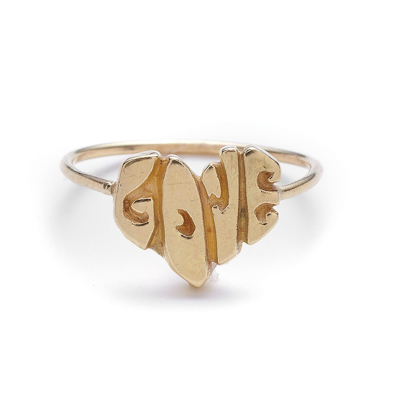 yellow gold love heart ring