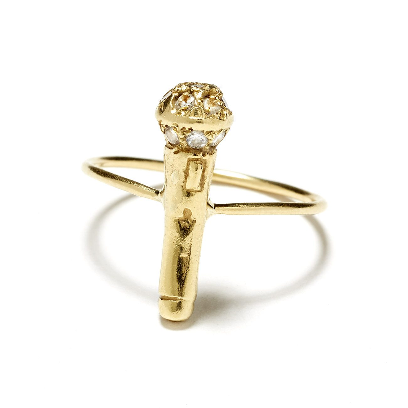yellow gold microphone ring