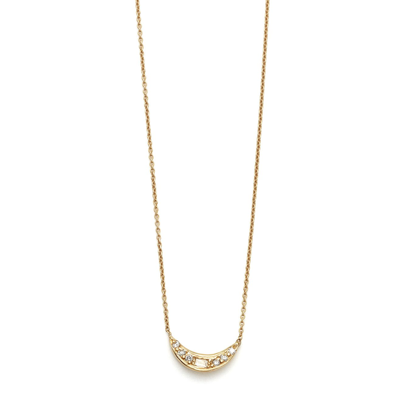 yellow gold mini moon necklace