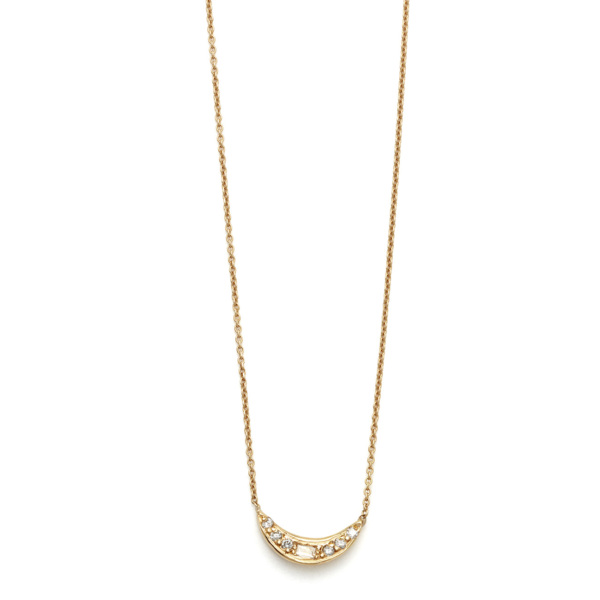 Elisa Solomon - Yellow Gold Mini Moon Necklace