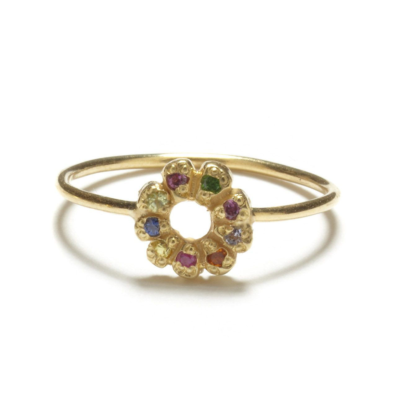 yellow gold multicolor flower child ring