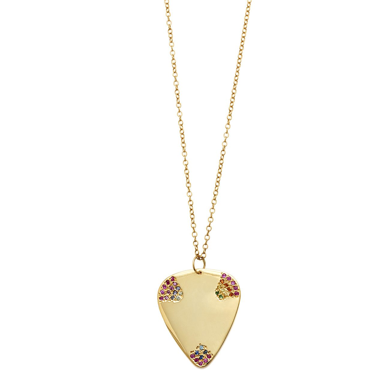 yellow gold multicolor guitar pick necklace