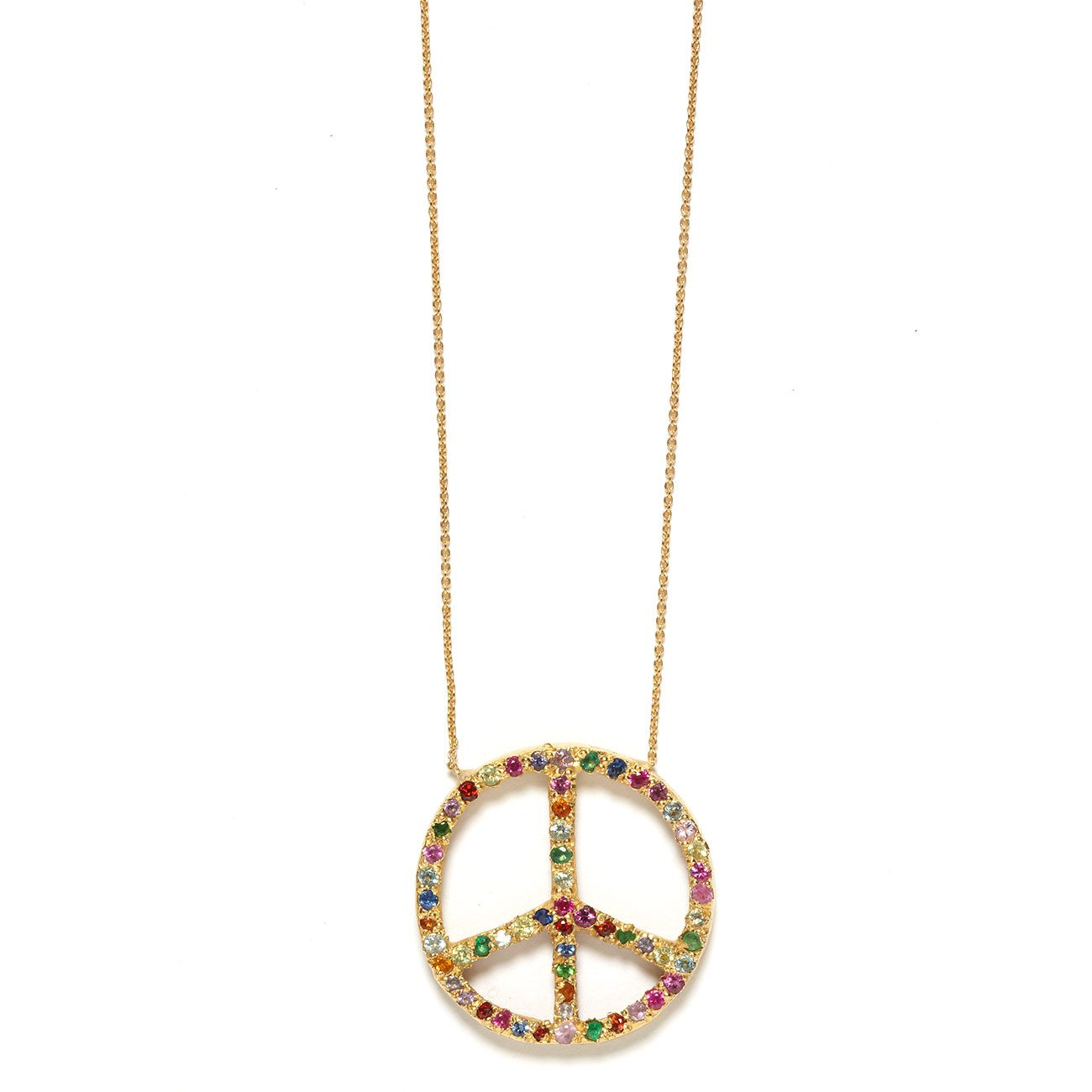 yellow gold multicolor large peace sign necklace