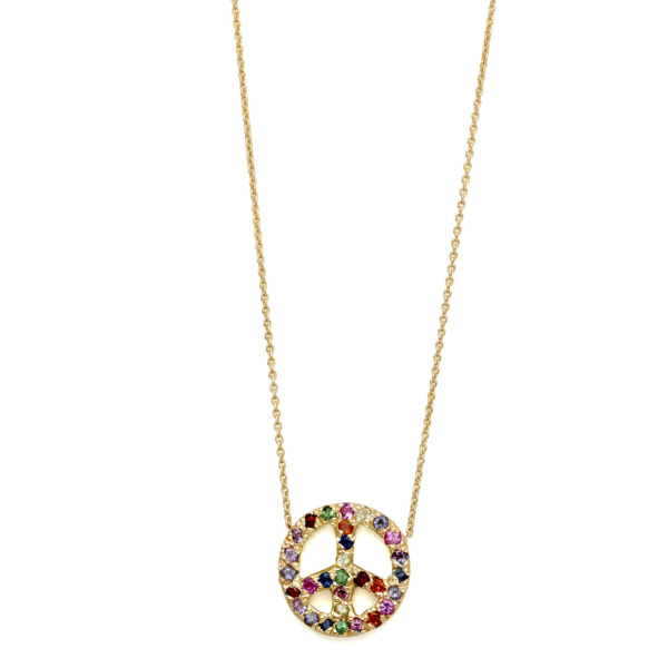 Elisa Solomon - Yellow Gold Multicolor Medium Peace Sign Necklace
