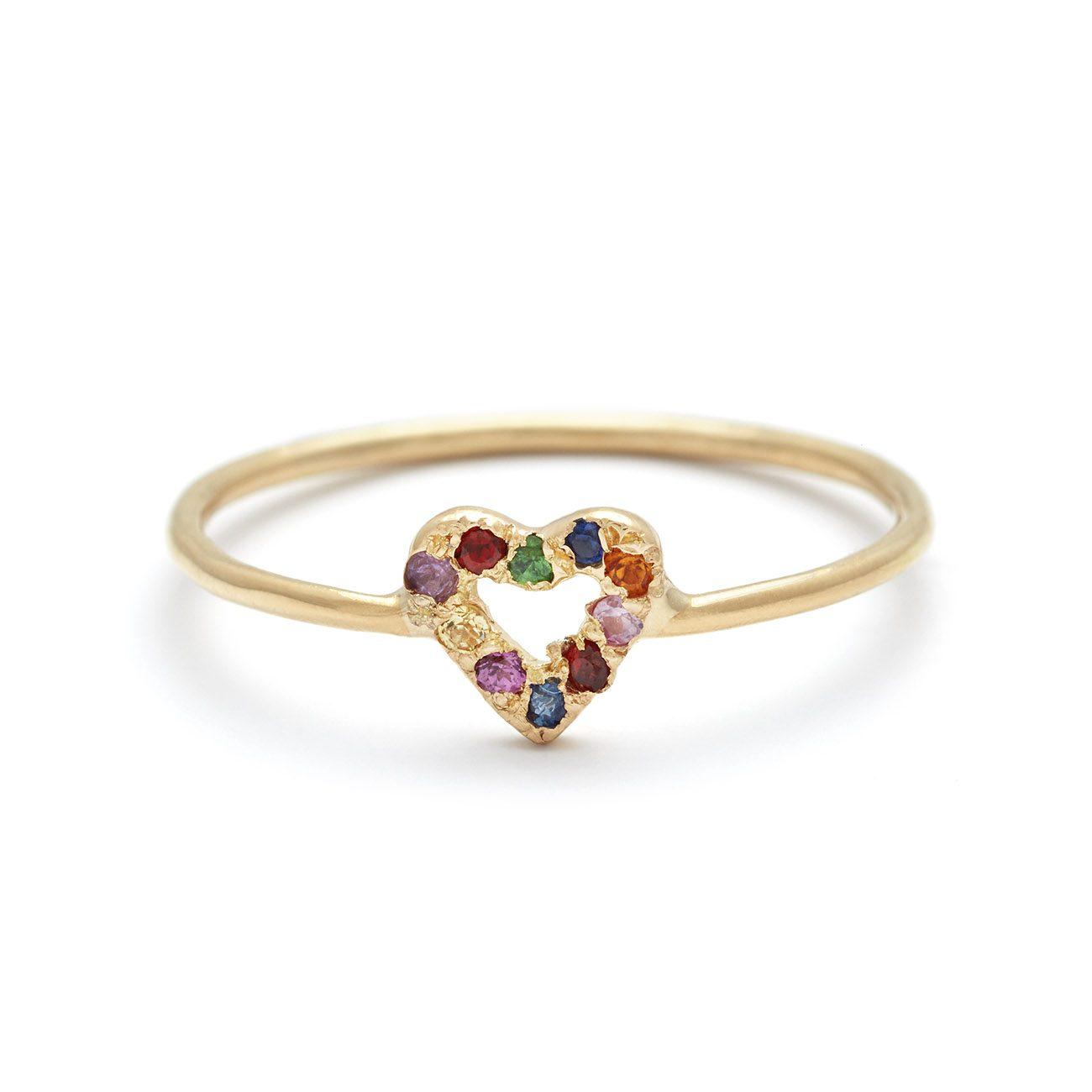 yellow gold multicolor tiny open heart ring