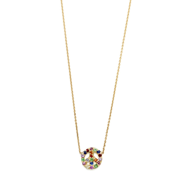 Elisa Solomon - Yellow Gold Multicolor Tiny Peace Sign Necklace