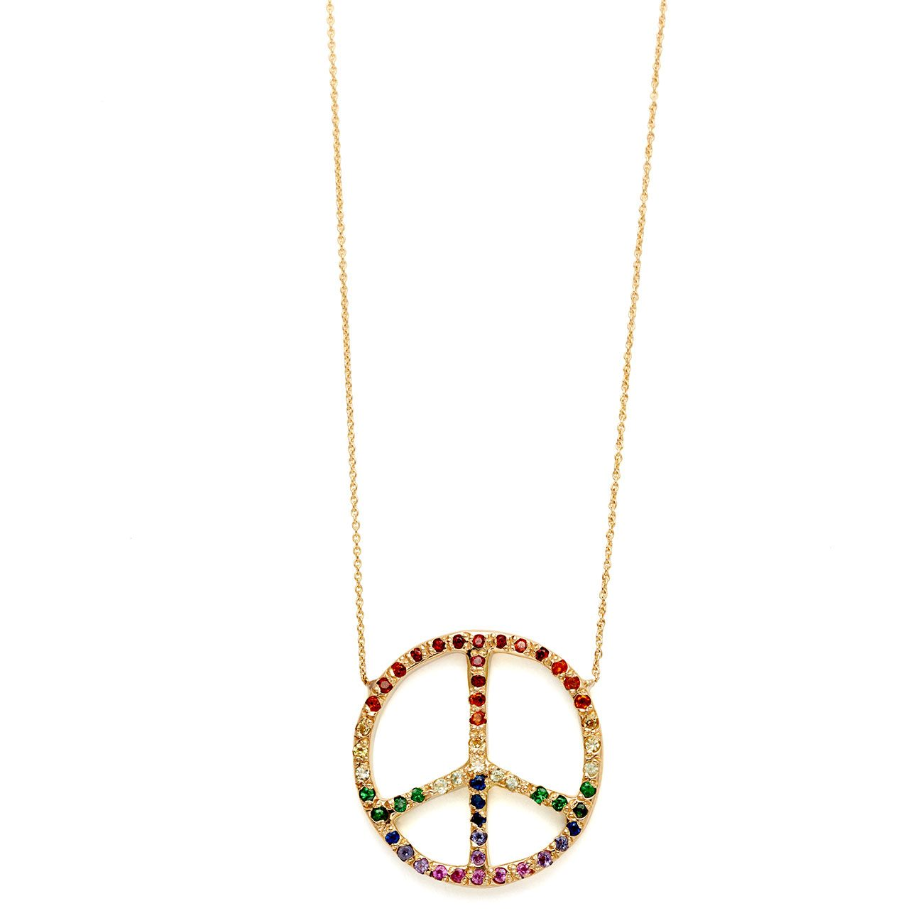 yellow gold ombre rainbow large peace sign necklace