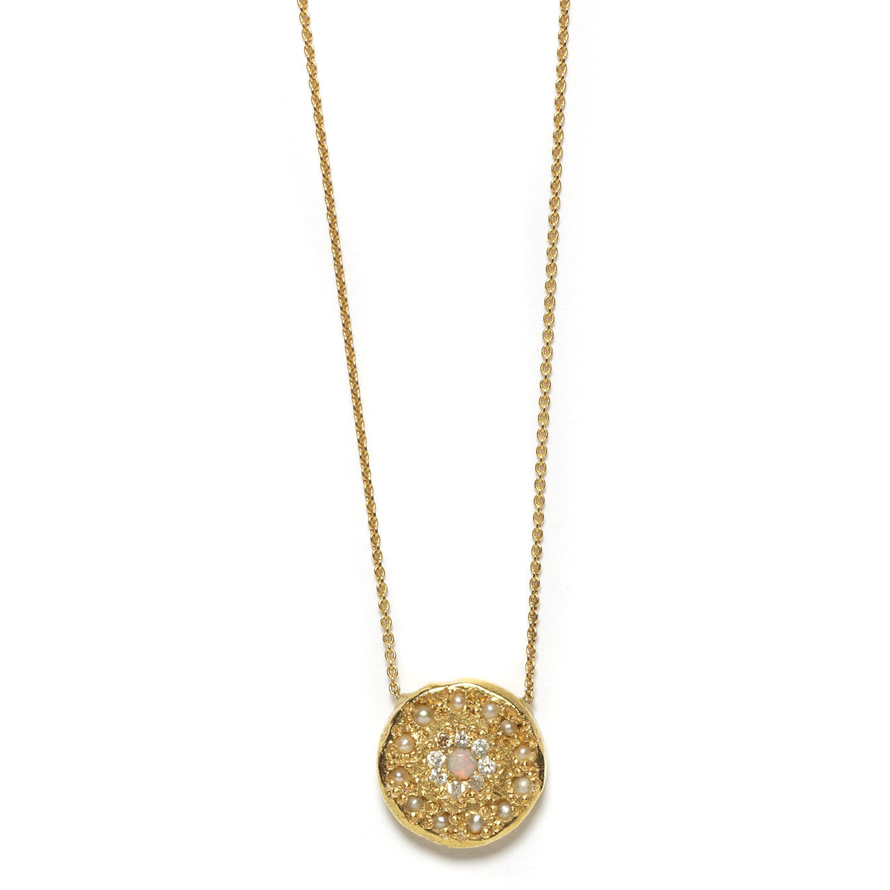 Elisa Solomon - Yellow Gold Opal Diamond Pearl Eye Necklace