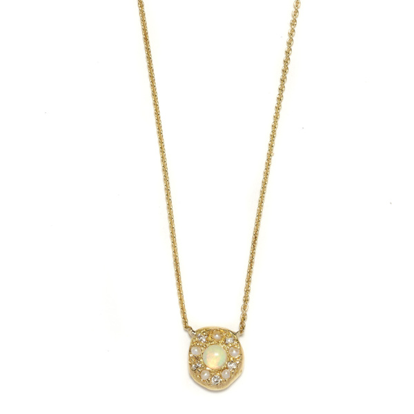 Elisa Solomon - Yellow Gold Opal Disk Necklace