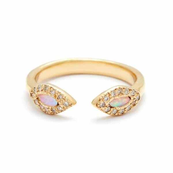Yellow Gold Opal Eye Cuff Ring in 18k