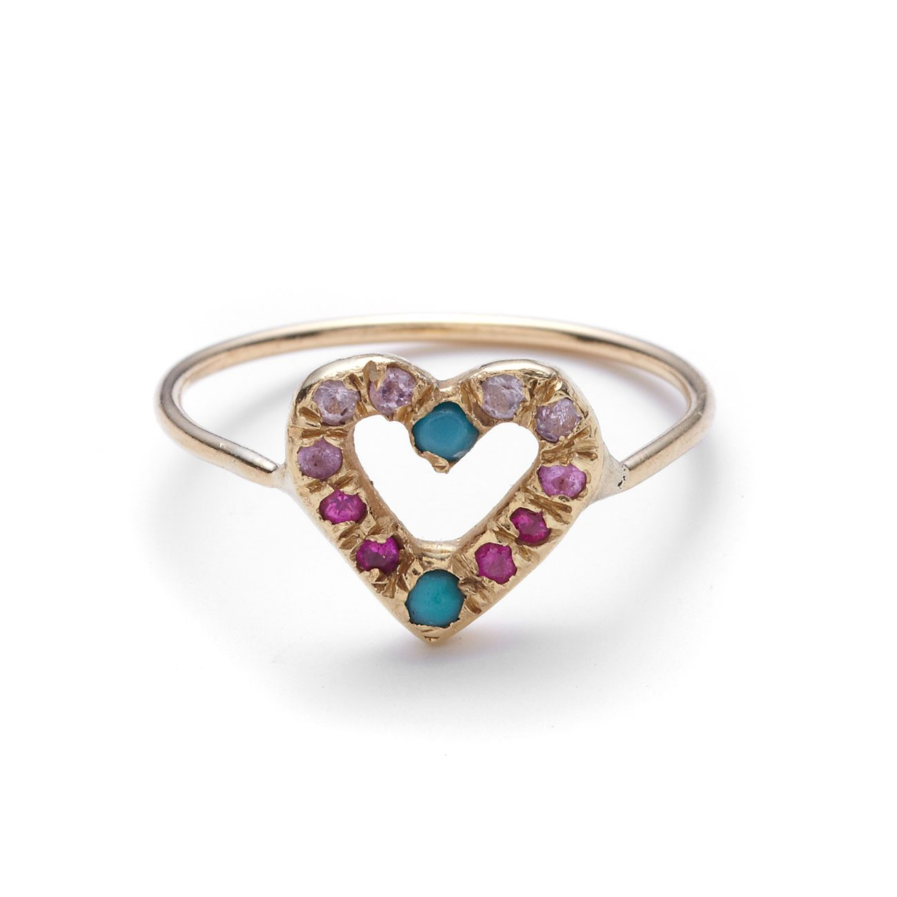 yellow gold open heart ring