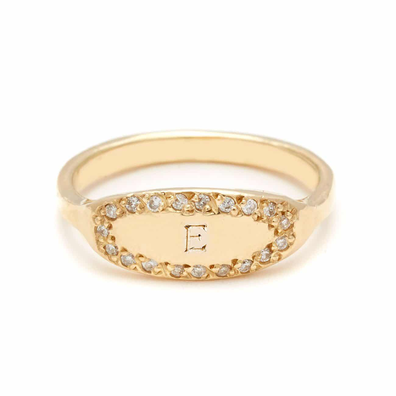 yellow gold oval signet ring 1 bold letter