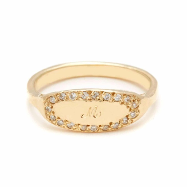 yellow gold oval signet ring 1 script letter