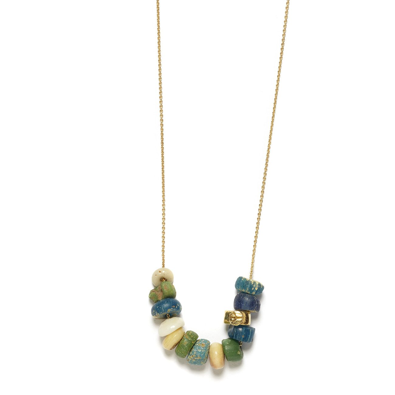 yellow gold peace bead necklace with beads