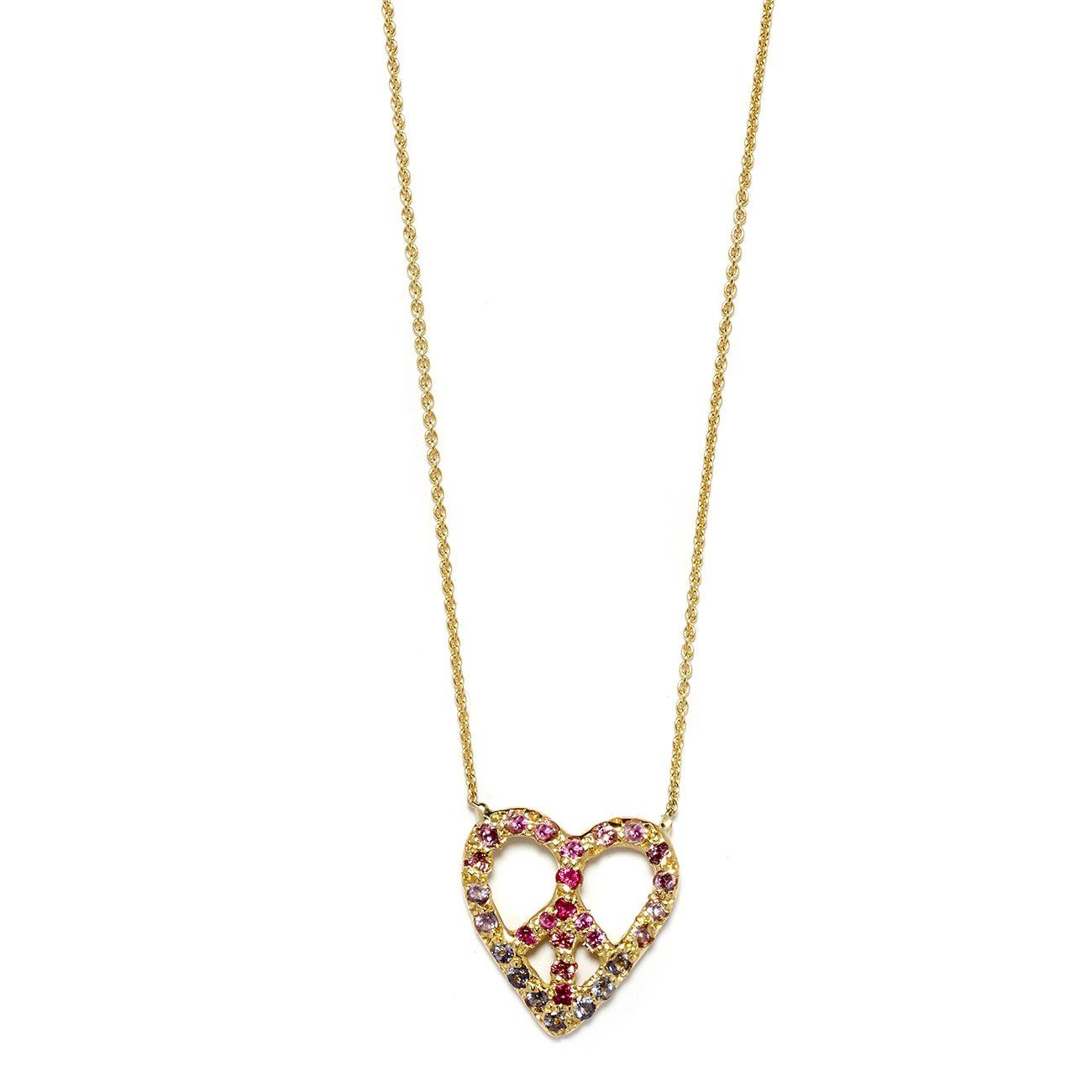 Elisa Solomon - Yellow Gold Peace Heart Necklace Pinks
