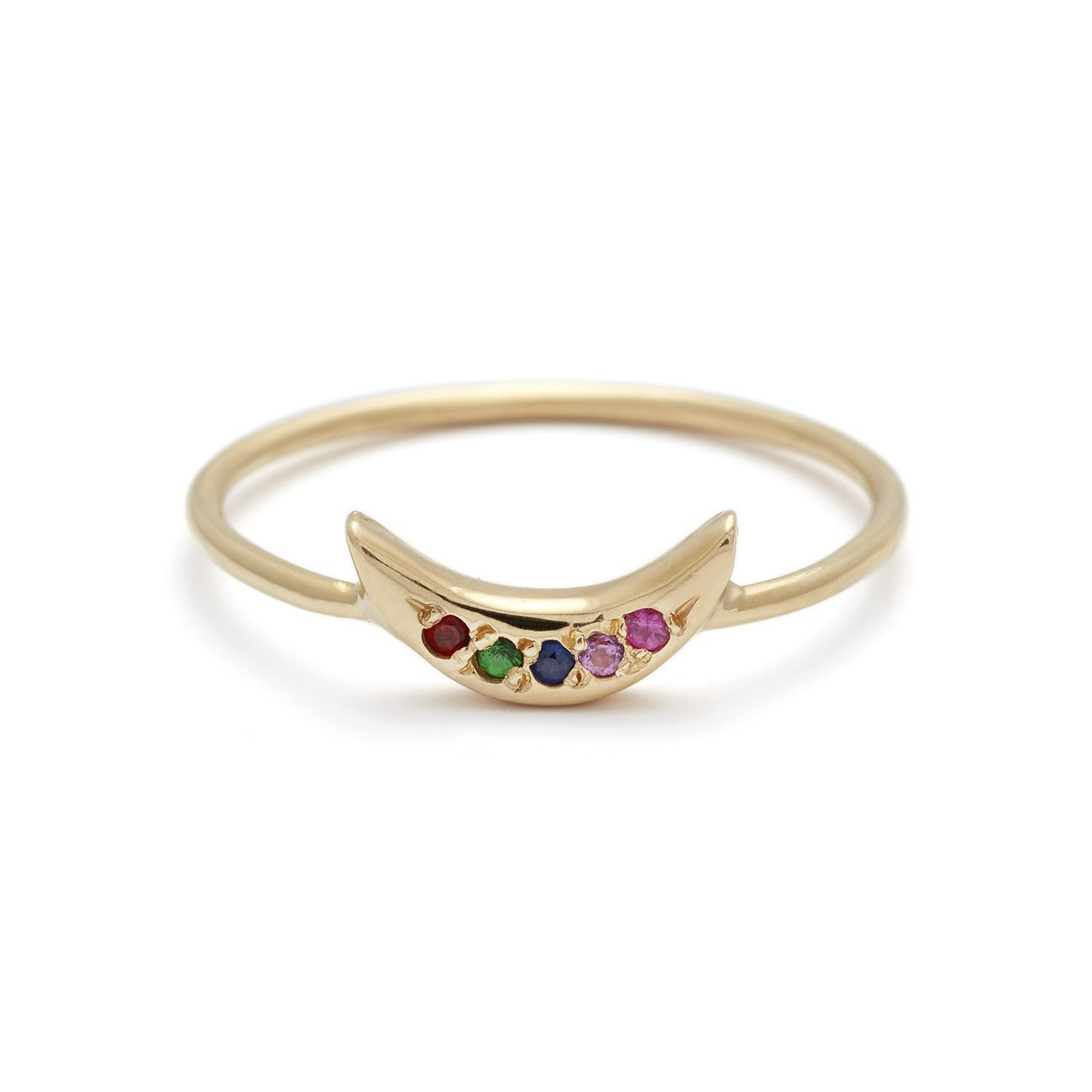yellow gold rainbow mini moon ring