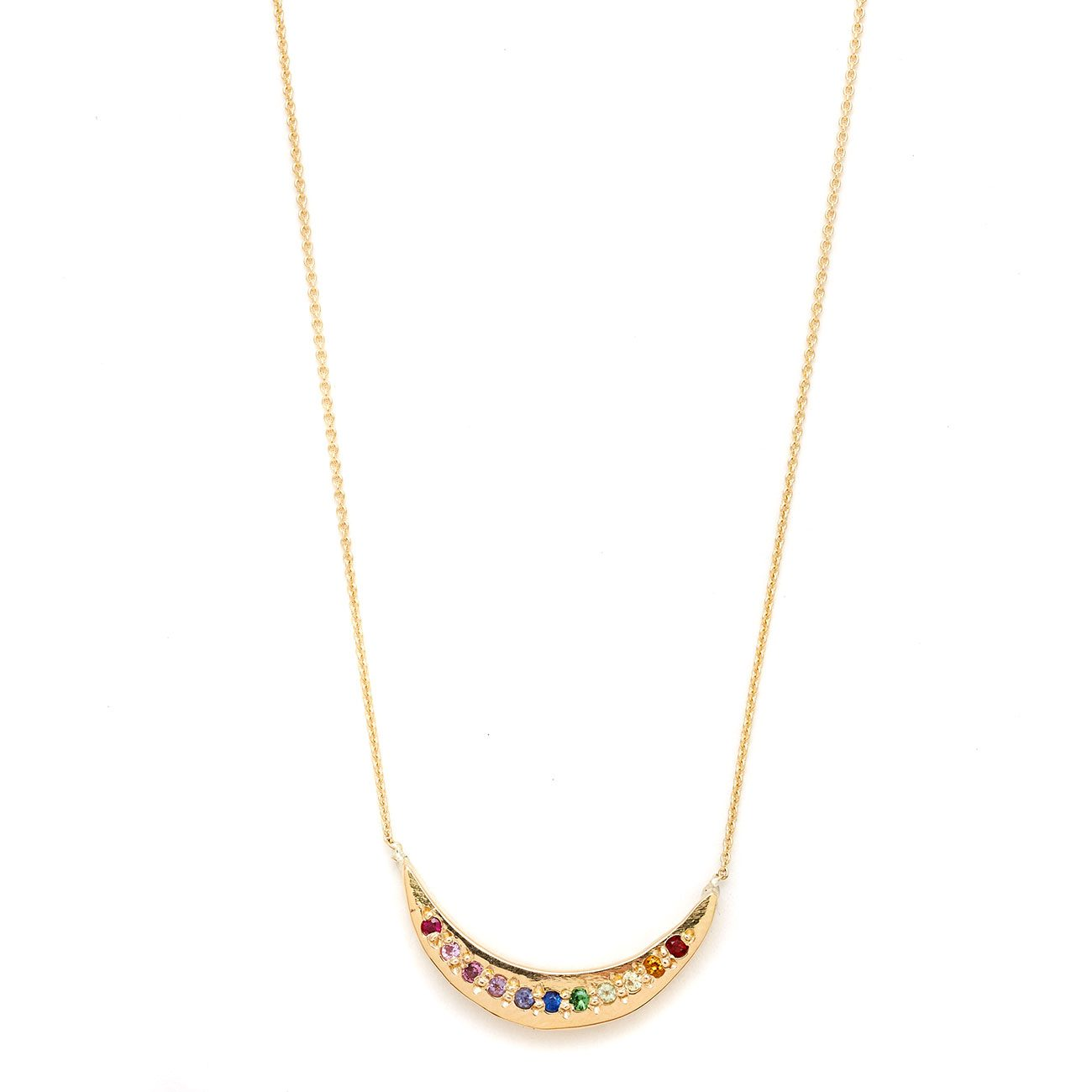 yellow gold tie dye moon necklace
