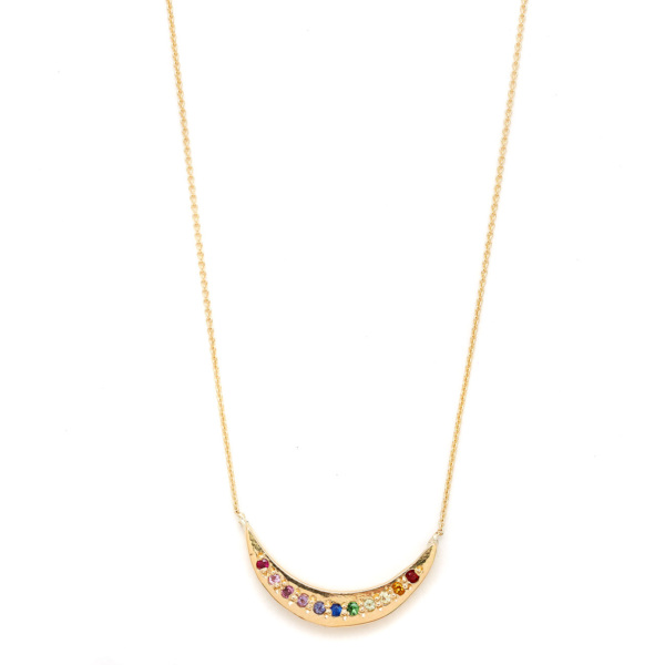 Elisa Solomon - Yellow Gold Tie Dye Moon Necklace