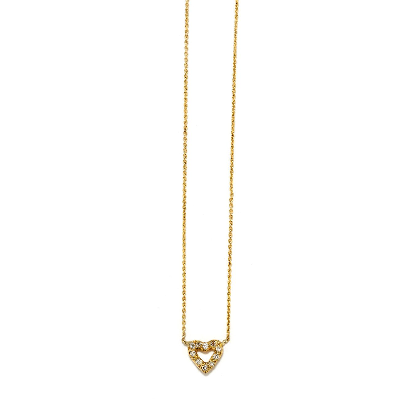 yellow gold tiny open heart necklace