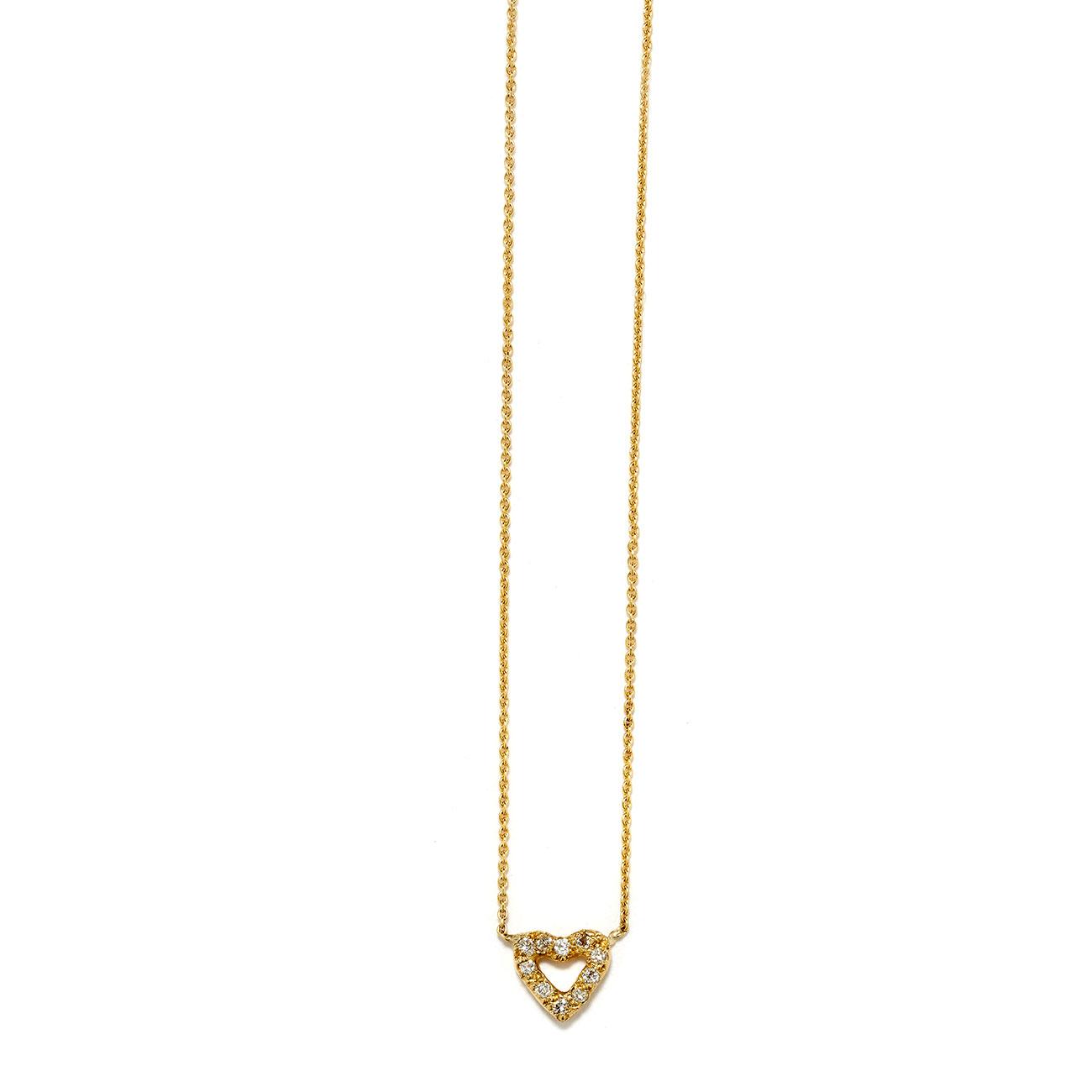 Elisa Solomon - Yellow Gold Tiny Open Heart Necklace