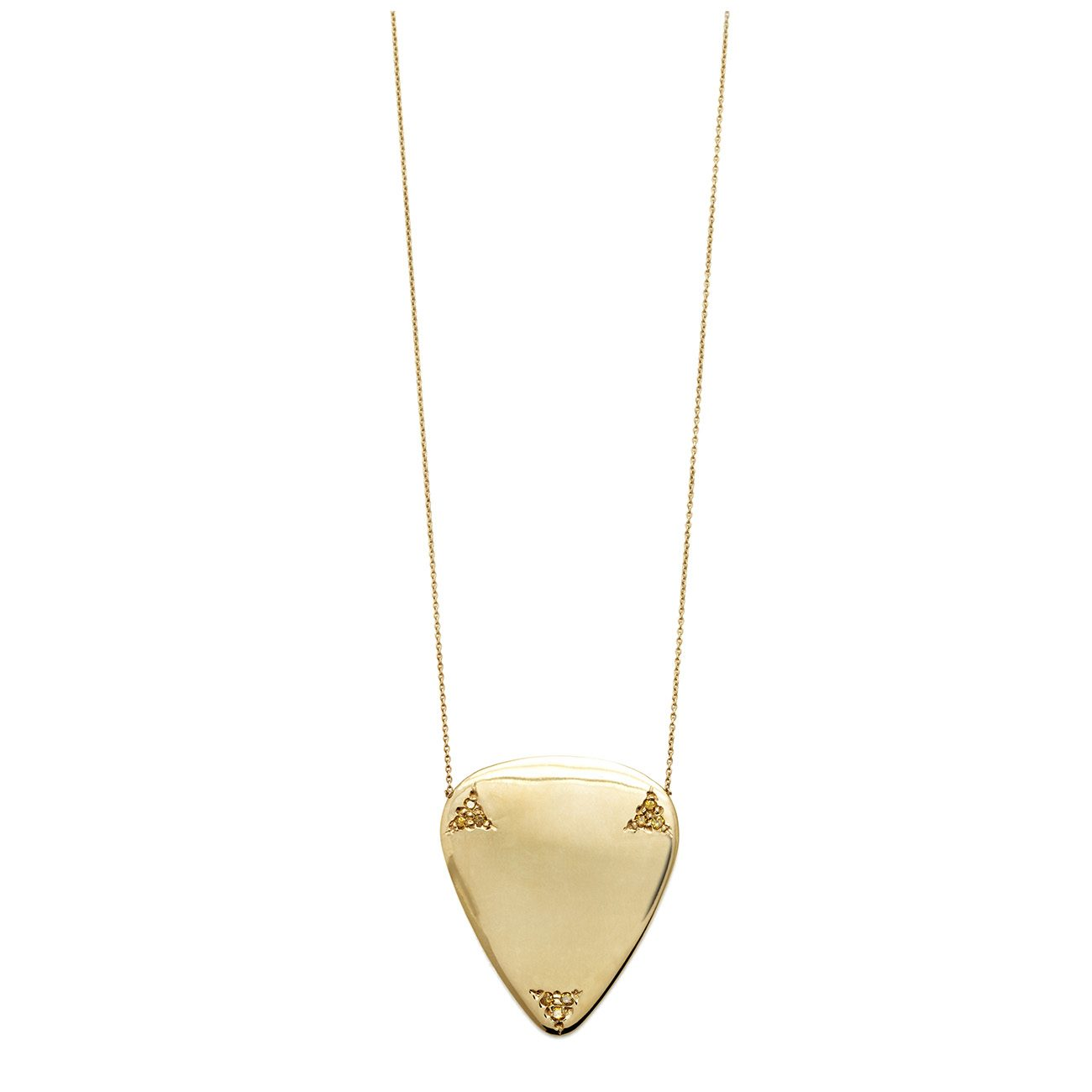 yellow gold yellow diamond guitar pick necklace