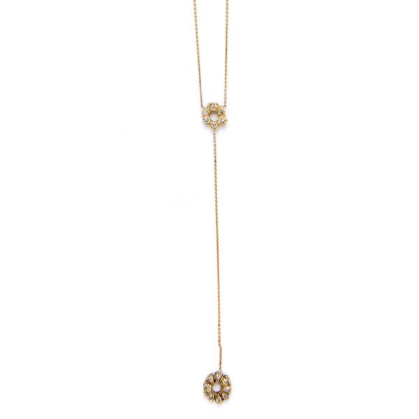 Elisa Solomon - Yellow Gold Yshape Flower Child Necklace