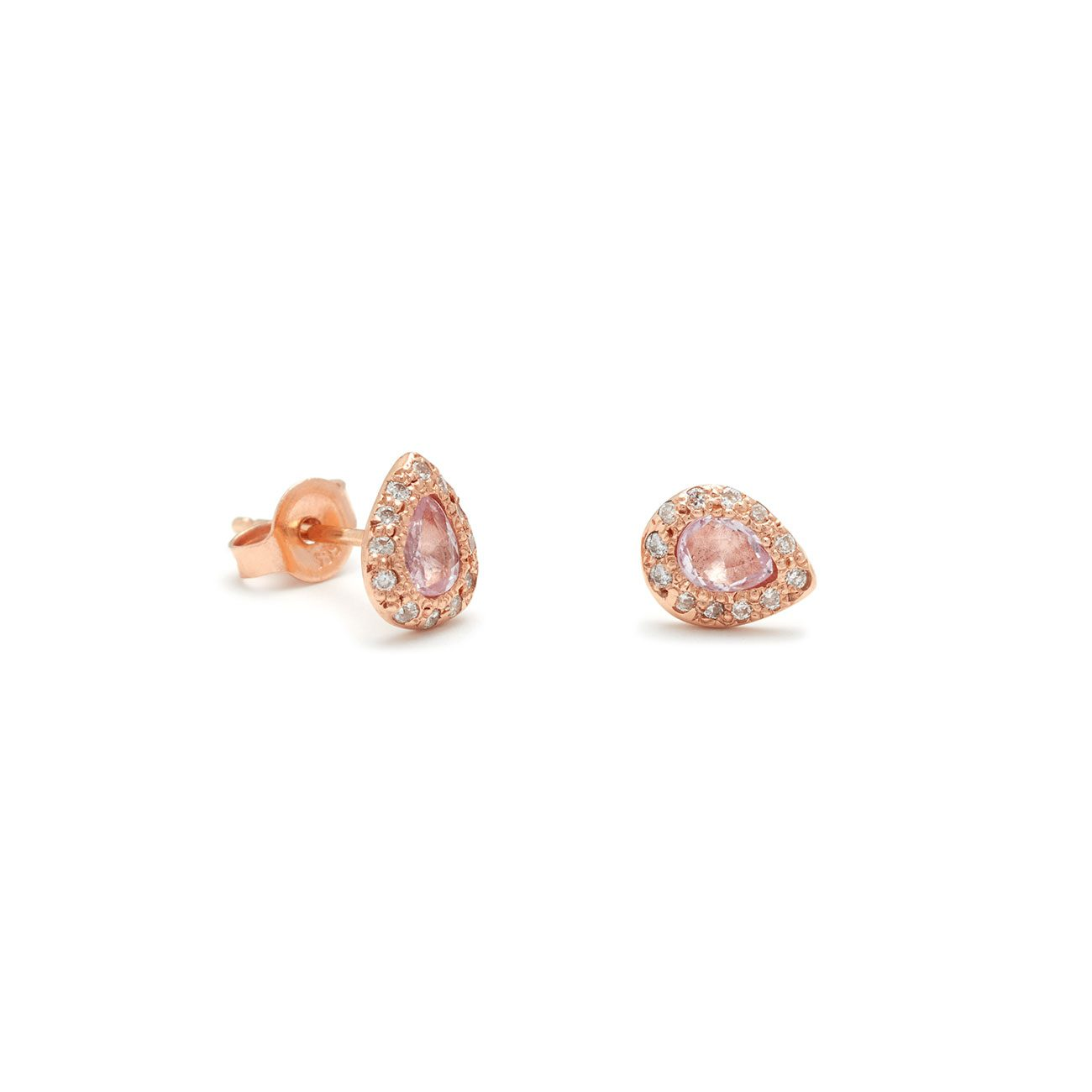 Pink Gold Pear Studs Elisa Solomon Jewelry