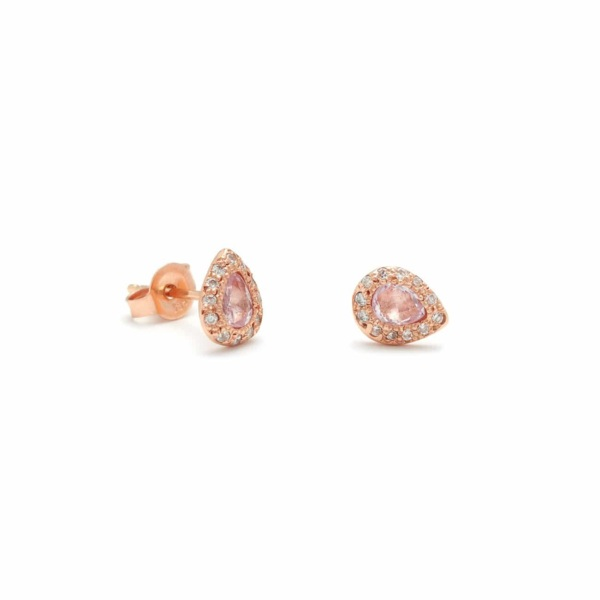 Pink Gold Pear Studs Elisa Solomon Jewelry