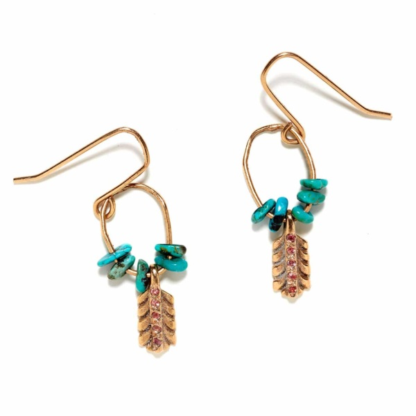 Pink Gold Small Feather Earrings