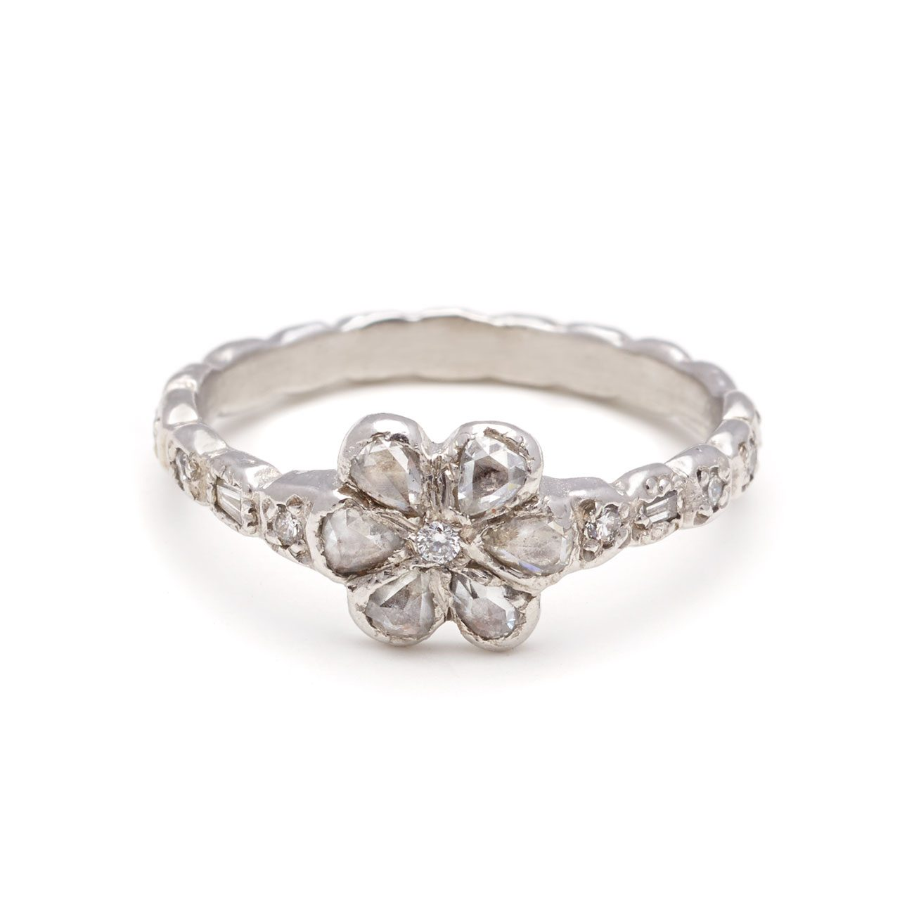Platinum Diamond Flower Ring