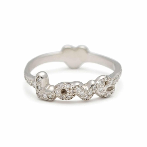 Platinum Love Heart Back Ring