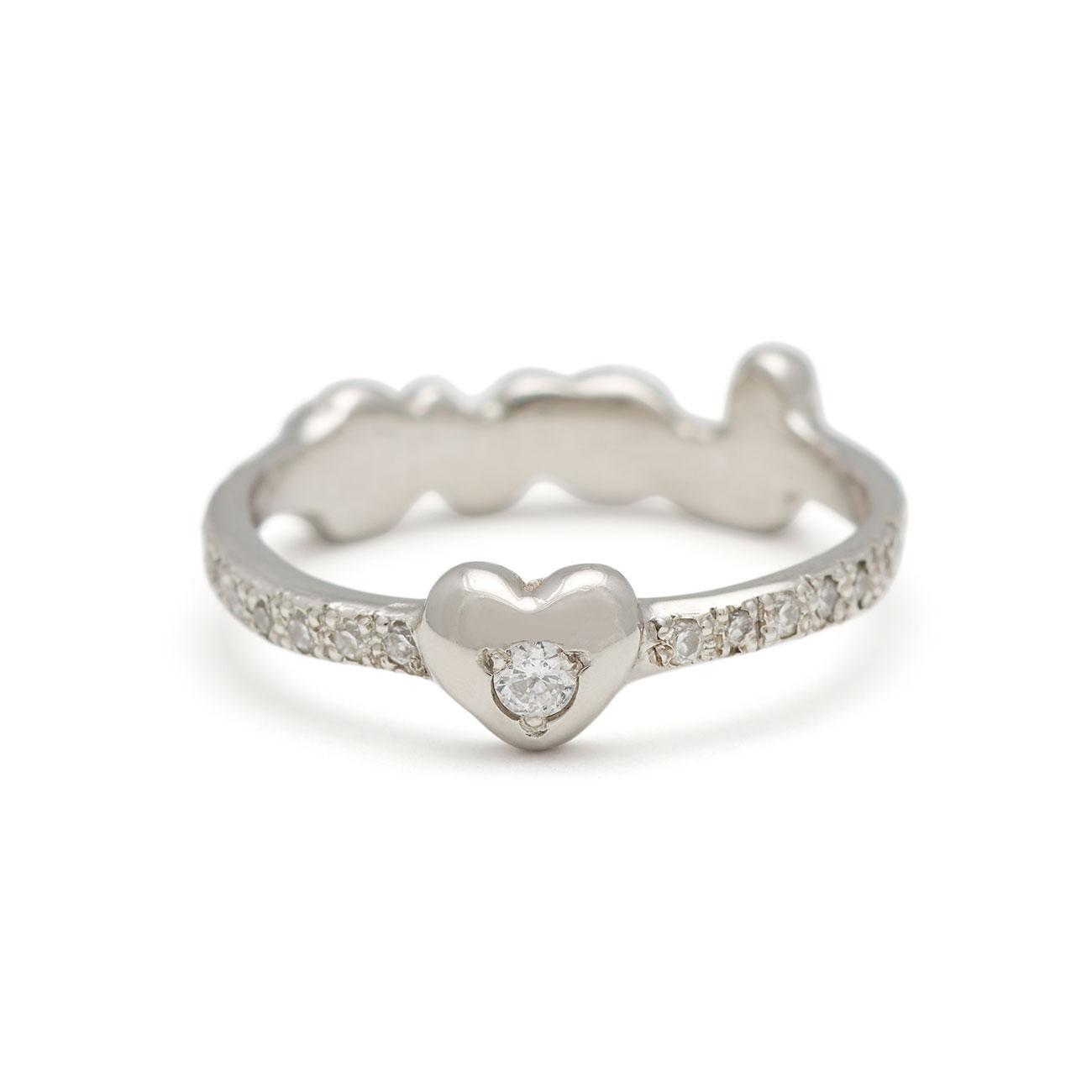 Platinum Love Heart Back Ring - Back
