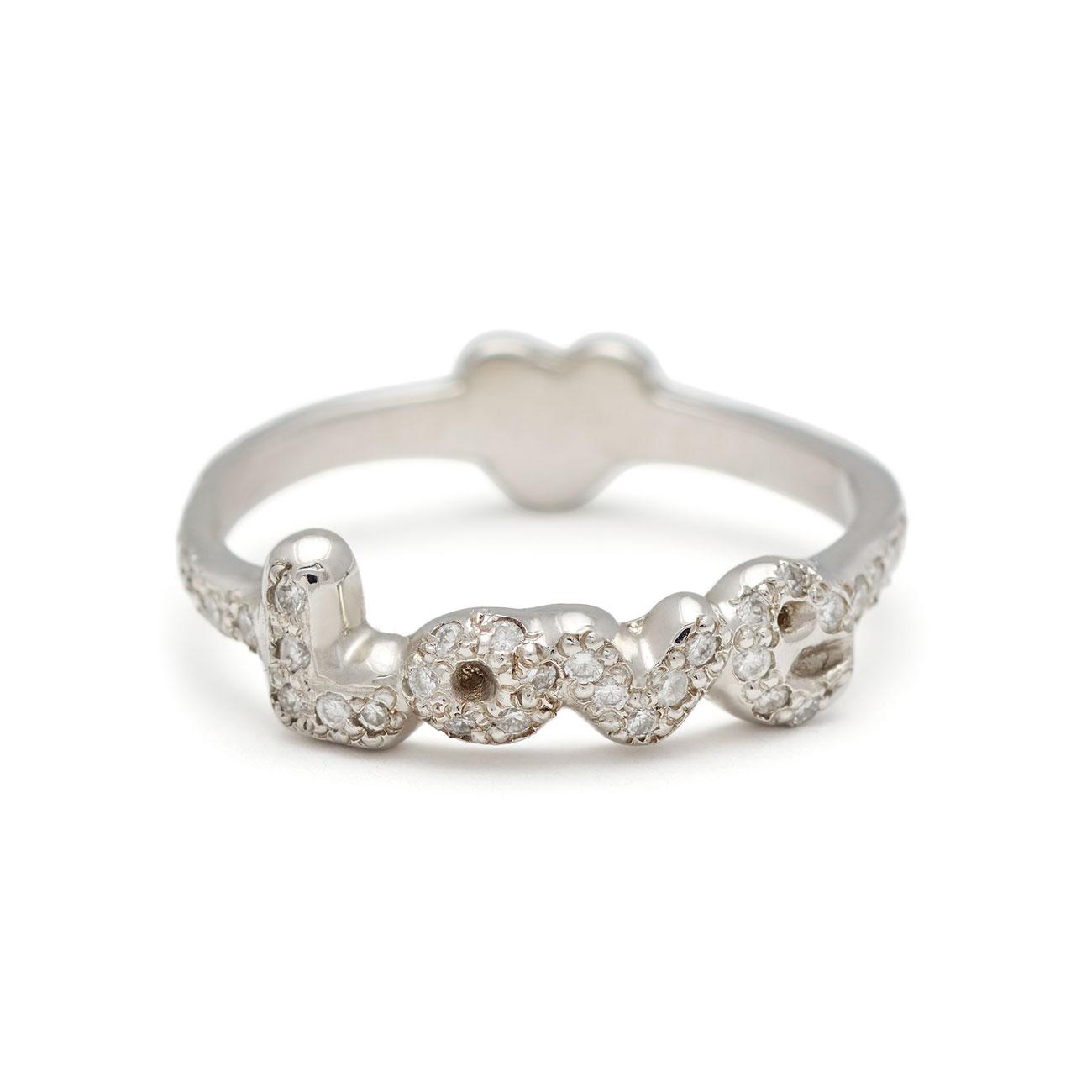 Platinum Love Heart Back Ring