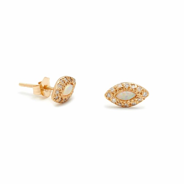 Yellow Gold Marquis Eye Studs Elisa Solomon Jewelry