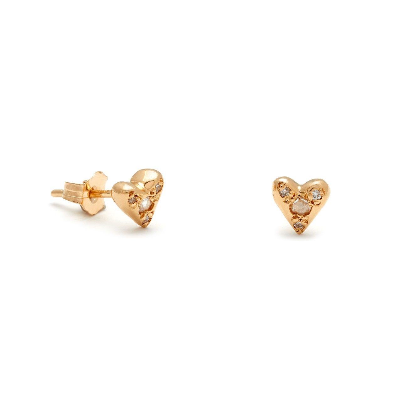 Yellow Gold Puff Heart Studs Elisa Solomon Jewelry